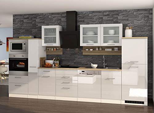 lifestyle4living Küche mit Elektrogeräten 370cm | Küchenzeile Küchenblock Einbauküche E-Geräte | Hochglanz Weiß/Eiche Sonoma