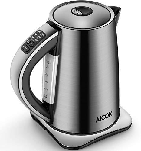 Wasserkocher Edelstahl mit Temperatureinstellung 40,60,70,80,90 und 100 Grad AICOK Elektrischer Wasserkessel mit Warmhaltefunktion, 2200W Wasserkocher mit Automatischer Abschaltung, 1,7 L