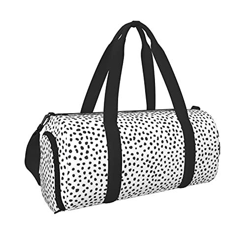 Bolsa de deporte de punto blanco y negro con bolsillo húmedo y compartimento para zapatos, bolsa de viaje para hombres y mujeres, Black, Talla única,
