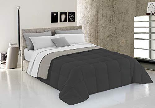 Italian Bed Linen Elegant Trapunta Invernale, Microfibra, Grigio Chiaro/Grigio Scuro, 260 x 260 cm