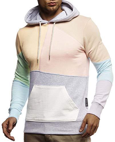 Leif Nelson Herren Hoodie Pullover für Männer mit Kapuze Pulli Kapuzenpullover Slim Fit Longsleeve Sweatshirt Langarm LN8344 L Mint