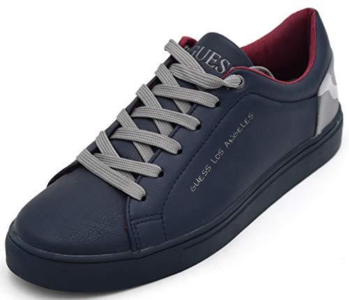 Guess Uomo Scarpa Sneaker Casual TEMO Libero Finta Pelle Art. FMLUI3LEA12 45 Blu Argento Blue Silver