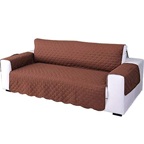 Jklt Práctica funda de sofá moderna minimalista antideslizante para mascotas, funda protectora universal, borde antiincrustante, cojín ancho del asiento de mascota (color: marrón, tamaño: 55 x 195 cm)