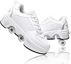 Double-Row Deform Wheel Deformation Automatic Walking Shoes Invisible Roller Skate 2 in 1 Removable Pulley Skates Skating (White Silver, US 9.5)