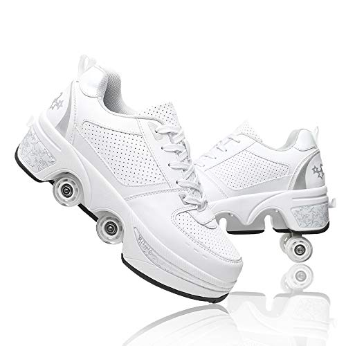 Double-Row Deform Wheel Deformation Automatic Walking Shoes Invisible Roller Skate 2 in 1 Removable Pulley Skates Skating (White Silver, US 7.5)