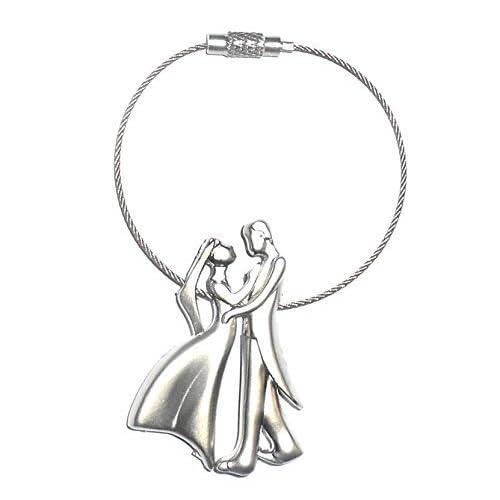 JaisBoy Romantic Happiness Couple Silver Keyring, Couple Keychain Gift for Boyfriend & Girlfriend