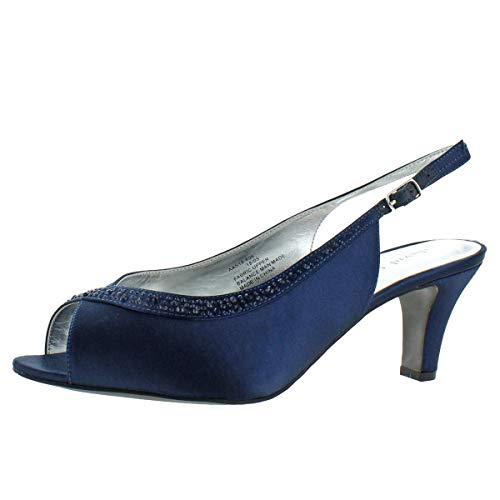 David Tate Women's Dainty Satin Crystal Heeled Slingback Sandals Navy Size 8.5
