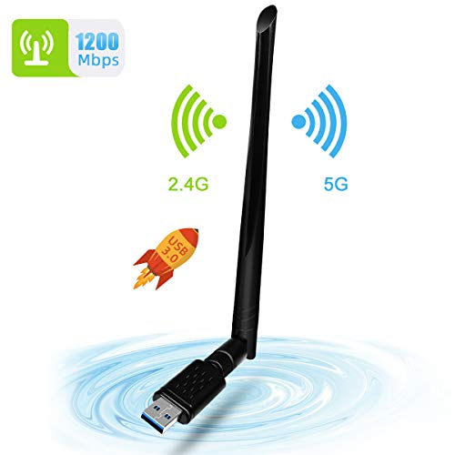 WLAN Stick, NINECY 1200 Mbit/s Dual Band (5G/867Mbps+2.4G/300Mbps), adattatore WiFi USB 3.0 WiFi Dongle Wireless WLAN ricevitore con 5dBi Antenna per Windows/Mac OS/Linux/Desktop/Laptop/Notebook