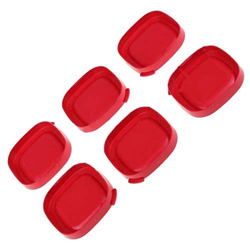 6 x Deckel für Joghurtgläser, quadratisch, rot, für Joghurtbereiter, 7 cm innen, 7,5 cm außen