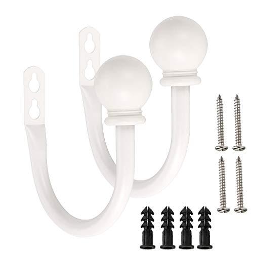 Bstkey Ein Paar leichte Metall-Vorhanghaken – Retro-Wandbefestigung für Vorhang, Raffhalter, Vorhangquaste, Vorhanghalter weiß