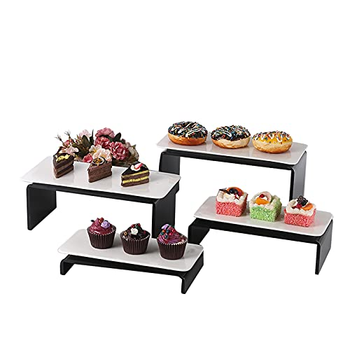 PETAAA Theme Wedding Birthday Party Cake Display Stands Tower Standss, Stepped Shape Dessert Stands Window Showcase Shelf For Buffets Cupcakes 8-piece Set Cake Stands(Color:black)
