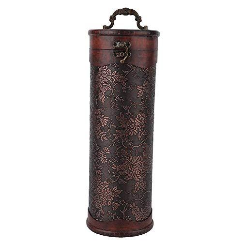 Caja de vino del cofre del tesoro, caja de almacenamiento de vino tinto portátil de madera redonda vintage individual con mango Ceremonia de aniversario Regalo de vino de boda de inauguración de la ca