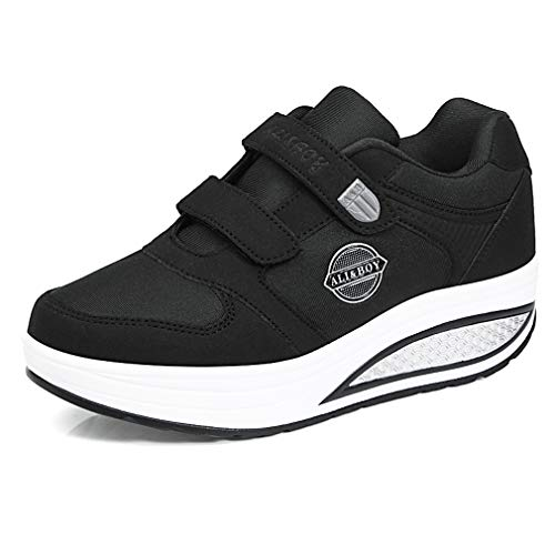 Solshine Damen Plateau Wedge Sneakers Fitnessschuhe Klettverschluss Shape up Walkingschuhe Turnschuhe Schwarz 38EU