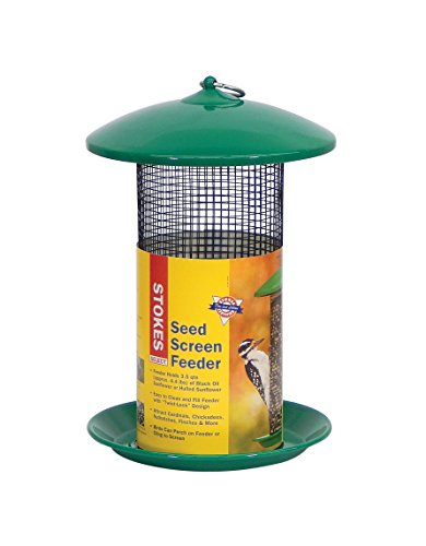 Stokes Select Mesh Screen Bird Feeder with Metal Roof, Green, 4.4 lb Seed Capacity