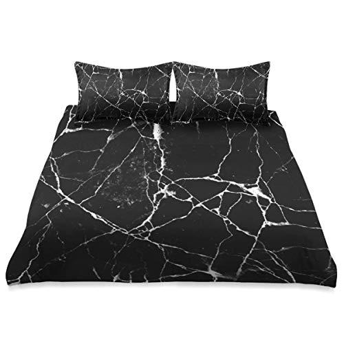 Bettbezug, rissige Bodenfliesen Wand Textur schwarz, 3-teiliges Mikrofaser-Bettwäscheset Ultra Softness Komfortables modernes Design