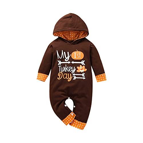 YQSR Mono de bebé de Halloween de Acción de Gracias, calabaza, disfraz de bebé recién nacido con capucha