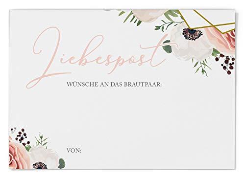 Ballonflugkarten zur Hochzeit 50 Stück, extra leichte Postkarten für langen Flug, Platz für Glückwünsche (Modern Floral Boho)