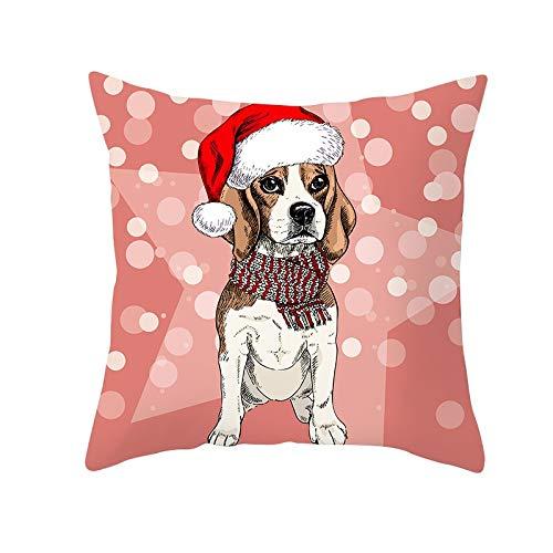 Jingpyij Fodere per Cuscini Divano Red Hat Dog Quadrati Decorativi in Velluto Morbido Fodere per Cuscino per Arredamento Casa Camera da Letto Soggiorno Auto Copricuscini M4915 Pillowcase,50x50cm