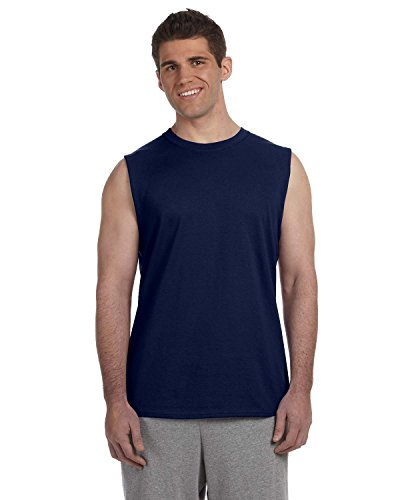 Gildan Ultra Cotton 6 oz. Sleeveless T-Shirt, XL, NAVY