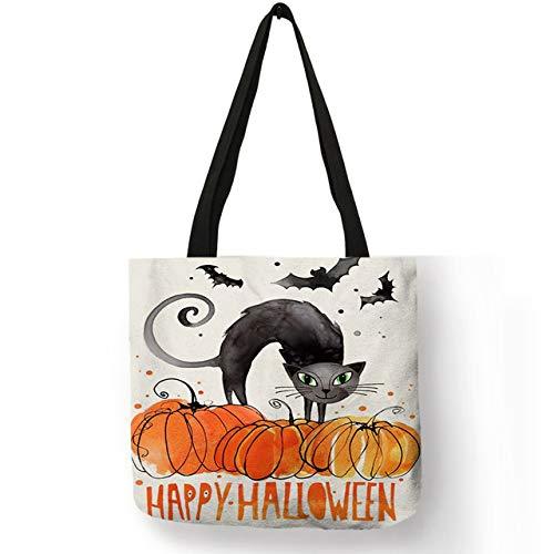 DASHUAI Bolso De Hombro Creativo para Mujer, Bolso De Mano con Diseño De Calavera Y Gato De Halloween Feliz, Bolso De Lino Ecológico, Hermosa Decoración, Bolsos Casuales para Gils