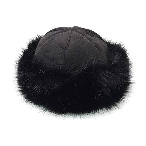 TININNA Wildleder & Faux Pelzmütze Damen Kosaken Russische Mütze Winter Hut Fellmütze Wintermütze