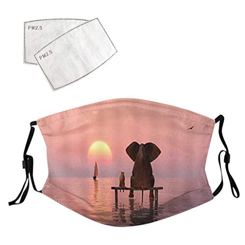 Elephant Face_Mask with 2 PCS Filters Adjustable Fashion Print Face Balaclava for Cycling Travel Outdoors Animal Style for Adults Unisex (1PC + 2 Filters, Elephant)