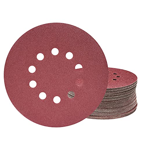 KONGMING Discos de lijado de 225 mm, 25 piezas de discos de lijado redondos de 10 orificios de grano P120, para lijadoras de cuello largo, esmeriladoras de paneles de yeso y pulidoras de jirafas.