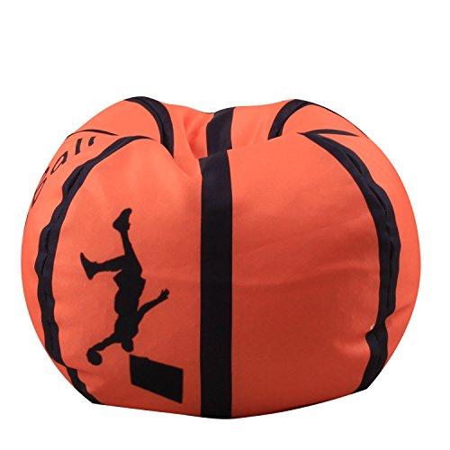 ele ELEOPTION Kindersitzsack Kinder Sessel Stofftier Aufbewahrungtasche Großes Fassungsvermögen 26'' Spielzeugaufbewahrung für Kinder Stofftier Plüschtiere Decke (Basketball Design)