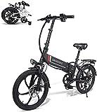 SAMEBIKE Bicicleta eléctrica plegable de 20 pulgadas, 350 W, 48 V, 10,4 Ah, bicicleta eléctrica para adultos con mando a distancia, 7 marchas (negro)