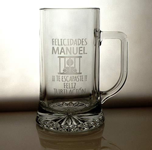 Arte-Deco Jarra DE Cerveza Stern GRABADA Y Personalizada con DISEÑO JUBILACIÓN-CÁRCEL, Jarra de Cerveza de 520 Ml. Regalo Divertido para jubilación