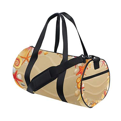 Ahomy Sporttasche, tropischer Strand, Sandmuscheln, Seestern, wasserdicht, Sporttasche, Handtasche, Reisetasche, Schultertasche für Damen und Herren