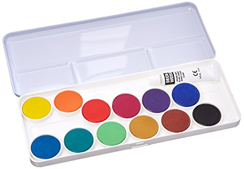 Talens Opaque Watercolors, Metal Tin, Set of 12 Round Pans