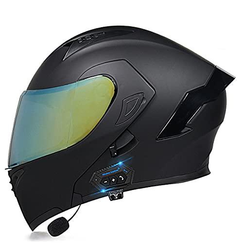 YALIXING Casco de Moto Modular Bluetooth con HD Doble Visera Cascos de Motocicleta Prueba de Viento Cascos integrales ECE Homologado para Adultos Hombres Mujeres(Size:XL (61-62CM),Color:mi)