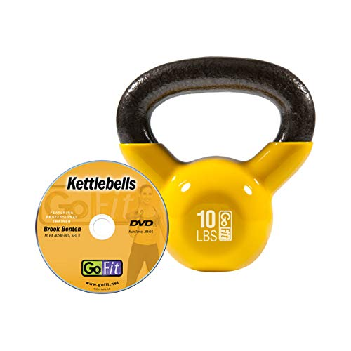 GoFit Premium Vinyl Dipped Kettle Bell with Introductory Training DVD - 10 Pounds