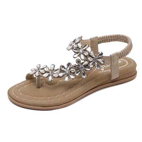 ZOEREA Sandalias de Mujeres Planas Verano Bohemia Moda Rhinestone Flor Damas Zapatos Correa Elástica Punta Abierta Casuales de Playa Chanclas Estilo 1 Beige, 36 EU