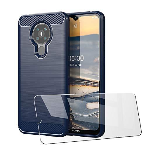 LJSM Templado Film para Nokia 5.3 Funda Azul Fibra de Carbono + 1 x Protector de Pantalla - Carcasa Suave Caso Carbon Fiber Cover Case para Nokia 5.3 (6.55