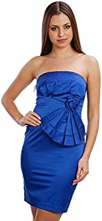 398 Party One Shoulder Side Peplum Padded Bodycon Dress Size 8-12