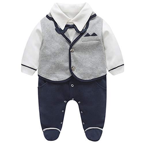 Famuka Baby Junge Smoking Neugeborenen Anzug Taufe Hochzeit Babykleidung (Grau, 0-3 Monate/59)