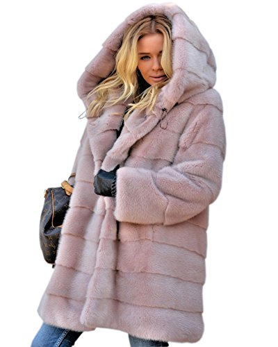 Aofur New Womens Thick Faux Fur Big Hooded Parka Long Overcat Peacoat Winter Coats Jackets (XX-Large, Pink)