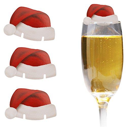 iiniim 10pcs Cappelli di Babbo Natale in vetro decorazioni festa di Natale cartone auguri biglietti segnaposto da tavola
