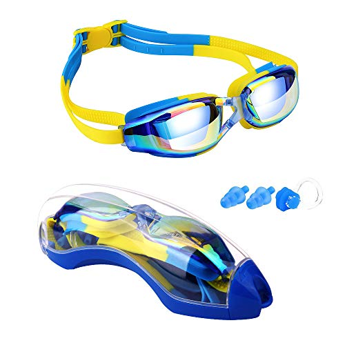 Hurdilen Kids Swim Goggles, Swim Goggles for Kids Swimming Goggles with Anti-Fog UV Protection No Leaking Coated Lens with Nose Clip, Earplugs,Case for Boys Girls Youth Kids
