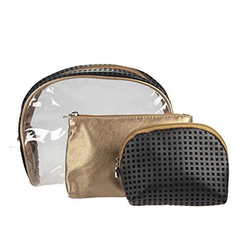 3 teiliges Kosmetik und Kulturtaschen -Set in Schwarz, Gold, Transparent von PARSA