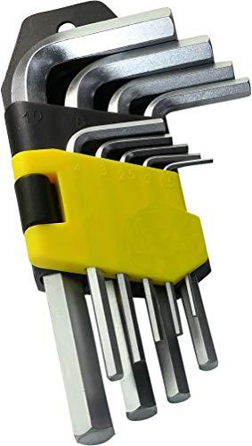 AERZETIX - Juego de 9 piezas Llaves Allen Machos Brazos Cortos Hexagonales 6 Lados 1.5/2/2.5/3/4/5/6/8/10mm - Altura de Llaves de 44mm a 120mm - Herramientas manuales - Acero /CR-V/ - Plata - C45853
