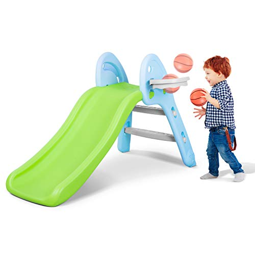 MaxKare Baby Slide Folding First Play Slide Set Toddler with Basketball Hoop Shooting Climbing for 1 2 3 Year Old Joy & Exercise in Home / Outdoor Use