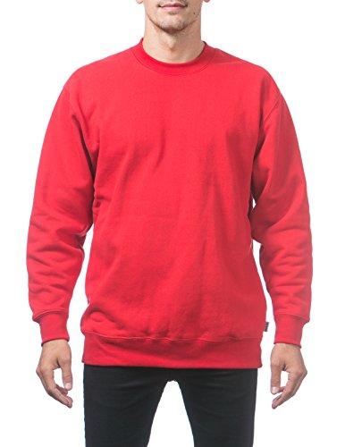 Pro Club Men's Heavyweight 13oz Crew Neck Fleece Pullover Sweatshirt, 4X-Large, Red