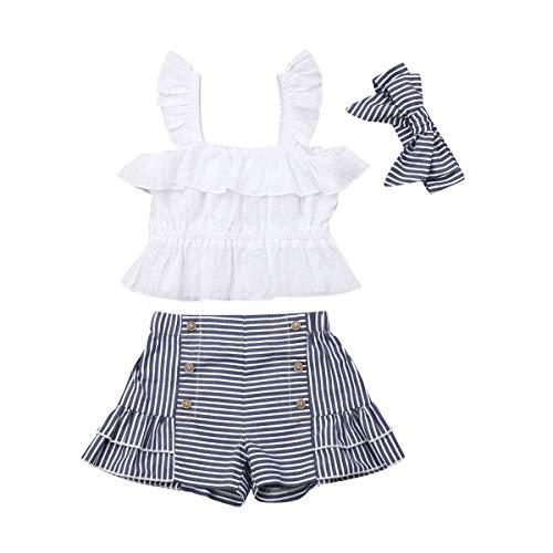 Conjunto de ropa de bebé de 0 a 3 años, de verano, informal, 2 piezas, camiseta sin mangas con estampado floral + pantalones cortos de cintura alta con lazo #106 Blanco + Azul 6-12 Meses