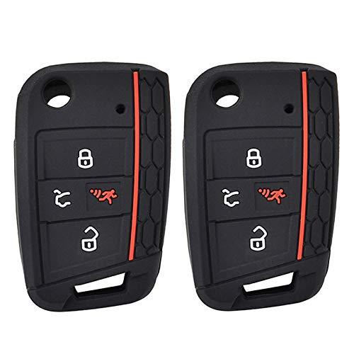 2Pcs Silicone Car Key Cover Remote Fob Case For VW Golf Tiguan Alltrack Sportwagen Polo Atlas For Skoda Octavia 2016 2017 2018 2019 2020 Shell Jacket Protector 4 Button
