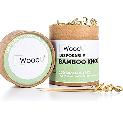 """Bamboo Knot Picks 100pc 4"""" Cocktail Skewers Eco friendly Biodegradable"""