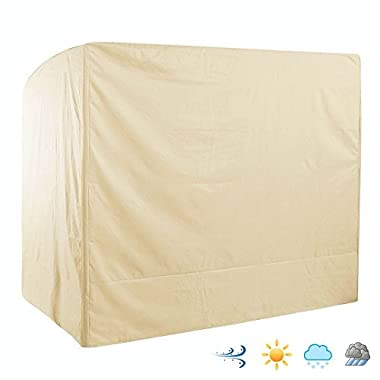 Outdoor 3 Triple Seater Hammock Patio Swing Chair Cover, Water-Resistant, All Weather Protection, Beige Color