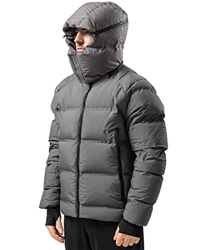 Men's Thickened Down Jacket Super Warm Winter Puffer Jacket Snow Coat,800 Fill Power (Grey,X-large)